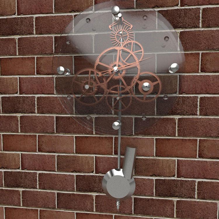 Wall Clock with Gear Wheel 3d Model