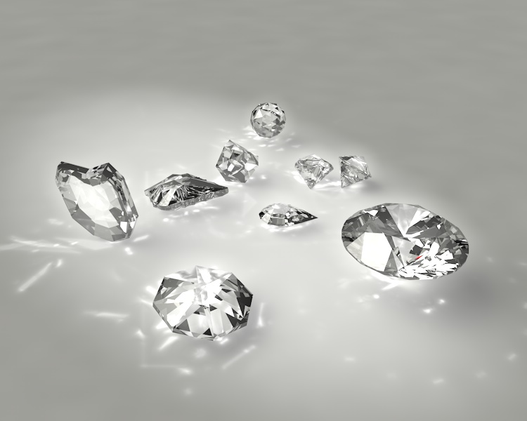 round brilliant pear trillion ball heart small diamonds jewelry 3d Model set caustics dispersion