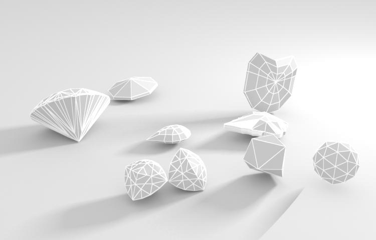 round brilliant pear trillion ball heart small emerald jewelry gems 3d Model set caustics dispersion