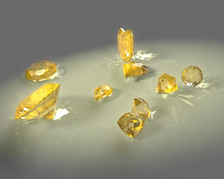 round brilliant pear trillion ball heart small topaz jewelry gems 3d Model set caustics dispersion