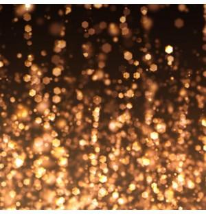Golden particle caption logo display