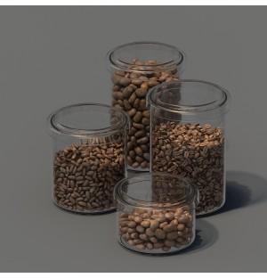 3d model of food glass bottle coffee bean with material and texture