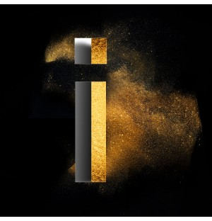 Gold Powder Dust Photoshop psd i lowercase letter