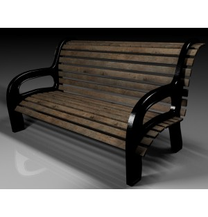 3D model of rest long wooden chair in park social place