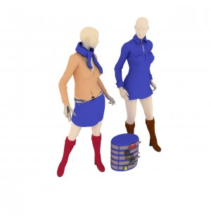 Dressed Female Mannequins 3d model