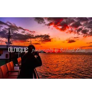 Photographer impression shooting sunset