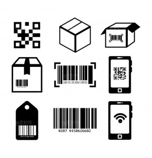 Qrcode and Bar code AI vector