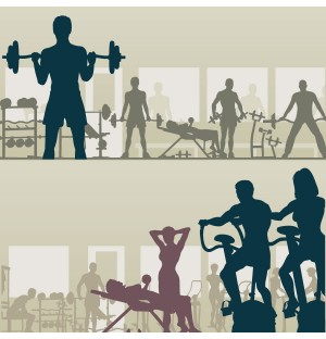 People Fitness Silhouettes AI Vector
