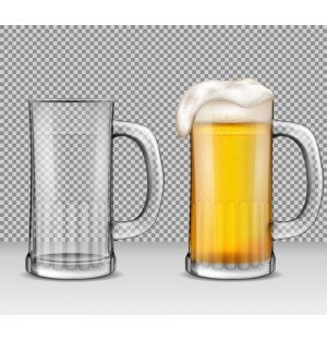 Photorealistic Beer Foam Glass Bottle Graphic AI Vector