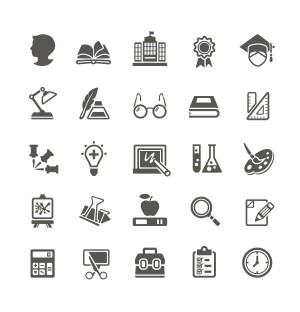 Study Stationery Icons AI Vector