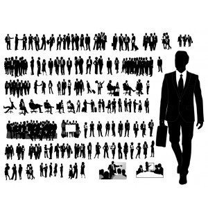 Working Meeting People Silhouettes AI Vector