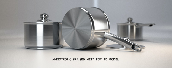 Anisotropic Braised Metal Pot 3d model Vray