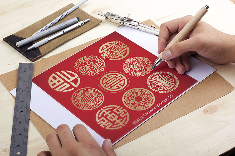 gold pattern vector chinese element good luck