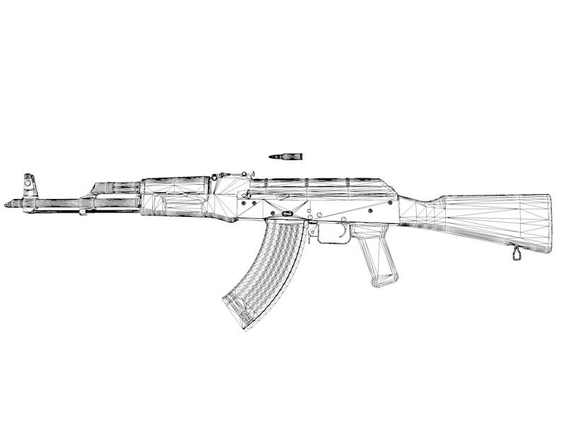 AKM assault rifle gun 3d model