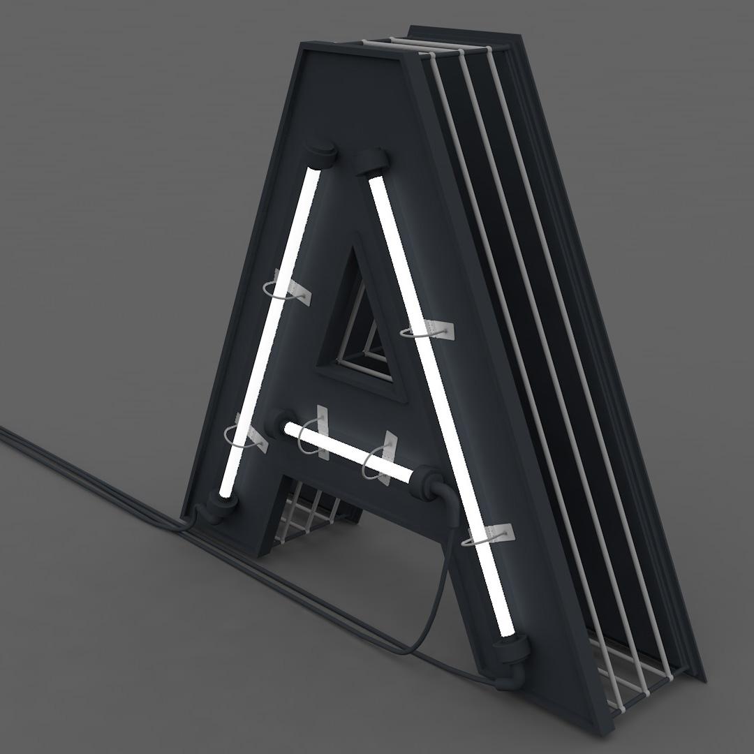 Capital Alphabets 3d model with lights lamptube