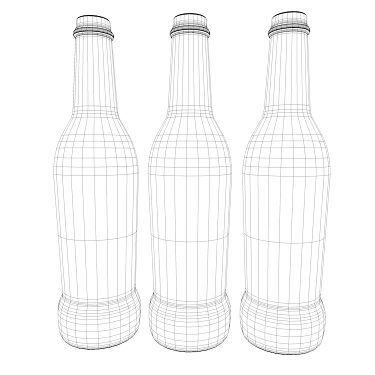 Cocktail with Scrub frosted glass bottle 3d Model