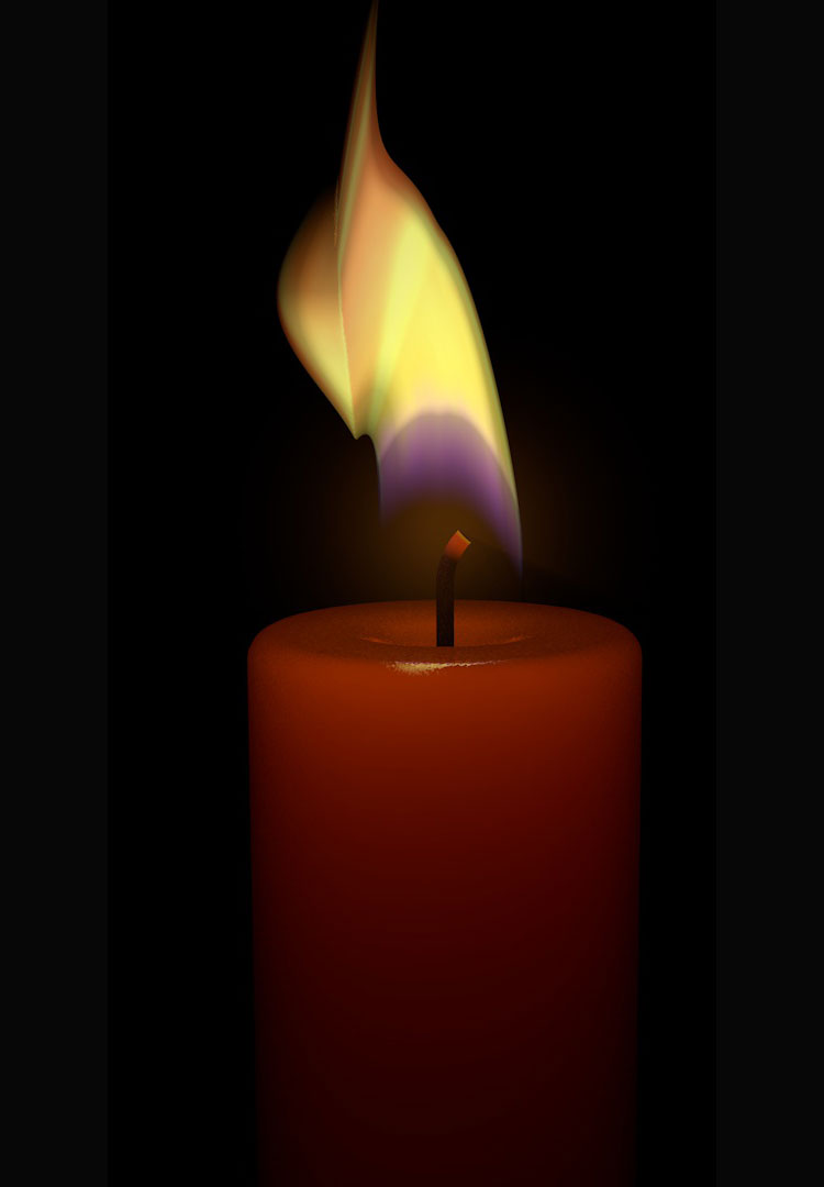 flame 3d animation c4d vfx with candle model
