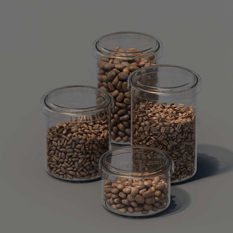 food glass bottle coffee bean 3d model