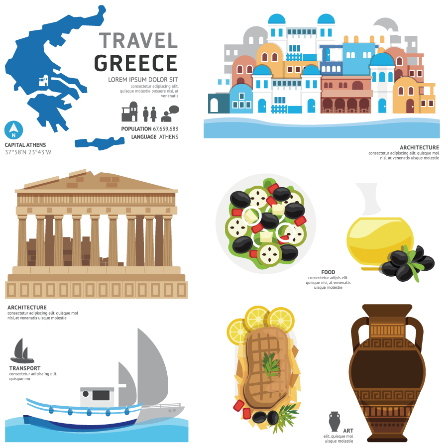 Greece Touristic Characteristic Feature Elements