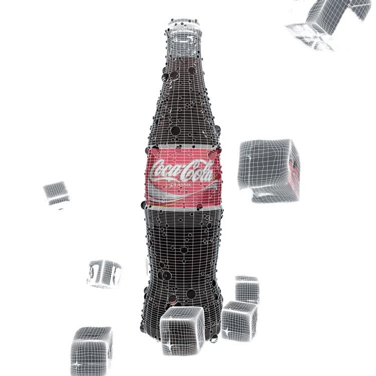 Iced Coca Cola Glass Bottle 3d model
