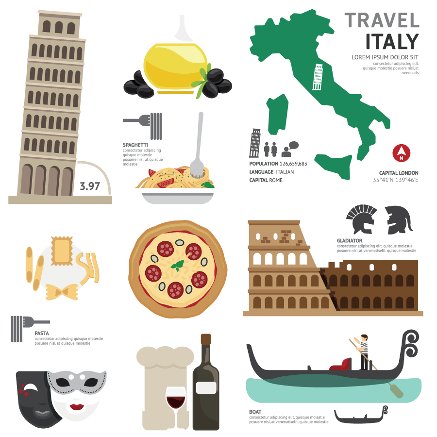 Italy Touristic Characteristic Feature Elements