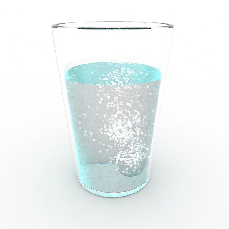 Pill fall into water emit bubble 3d Particle Animation
