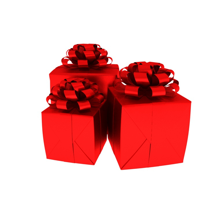 Presents box red ribbon 3d model