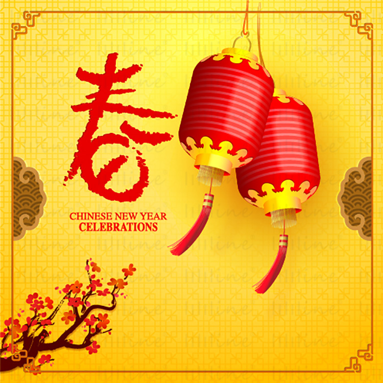 The traditional China Spring Festival element-Red Lantern