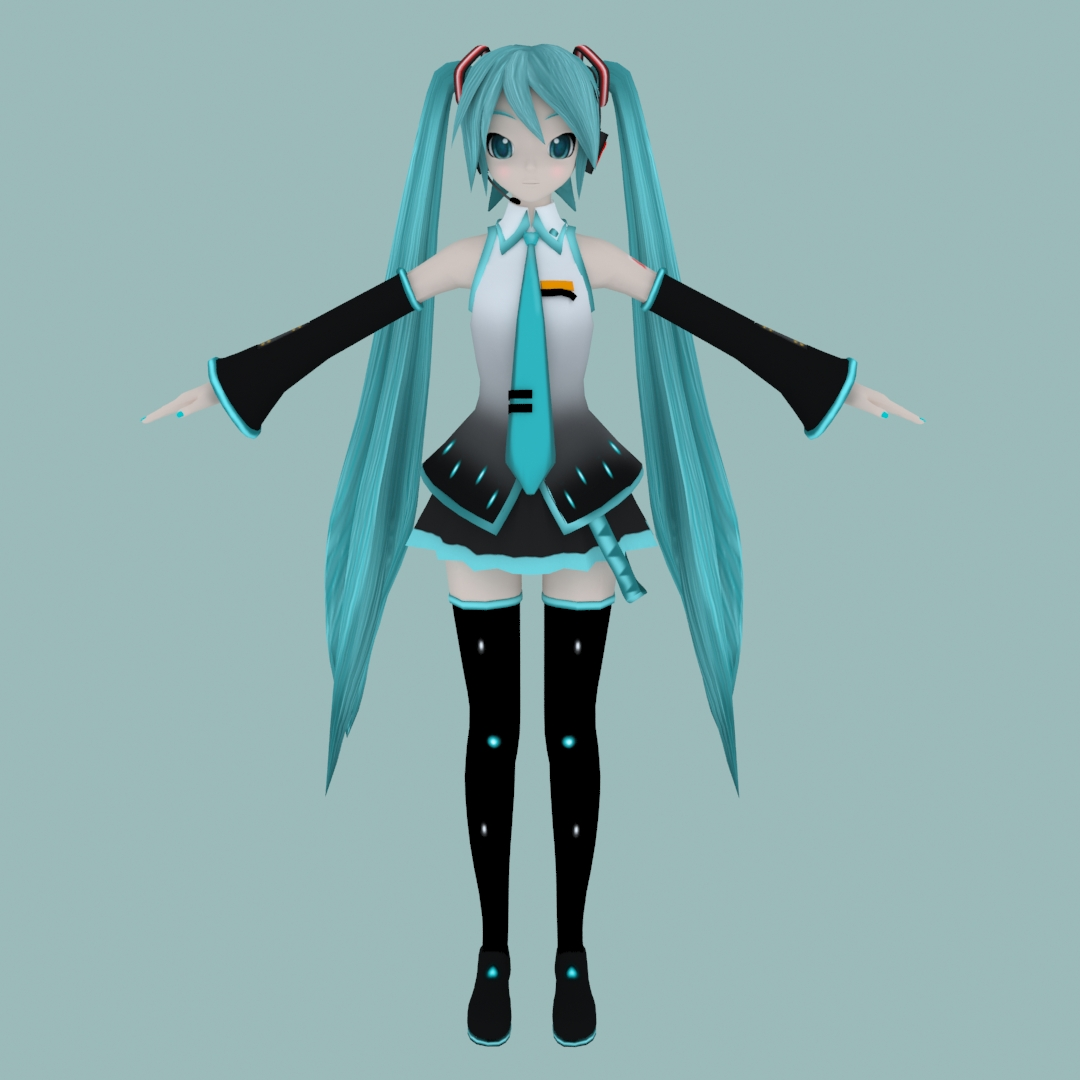 Hatsune Miku cartoon girl warrior 3D model without bones without binding