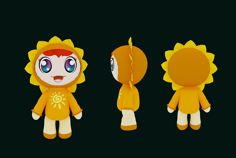 Sunflower Cartoon Girl 3D Model