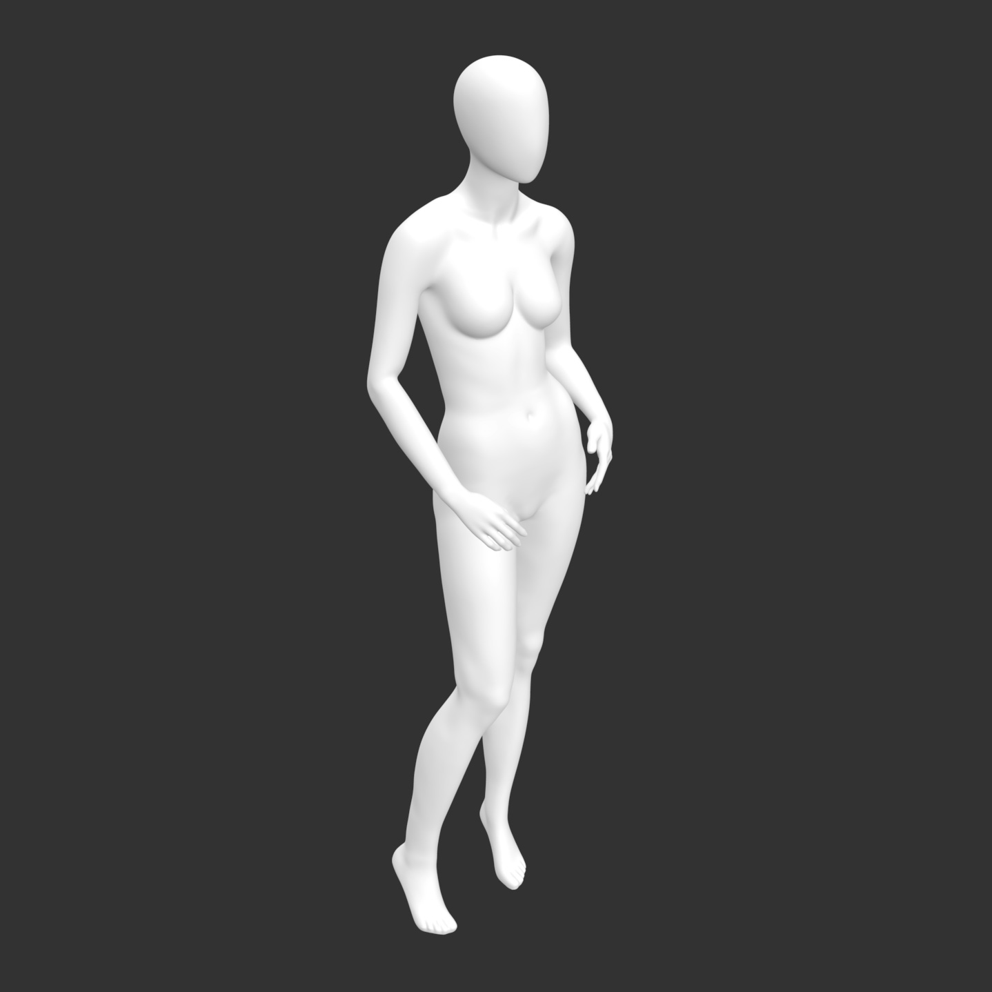 Leisure Female Mannequin 3d printing model of no face and muscle - 2