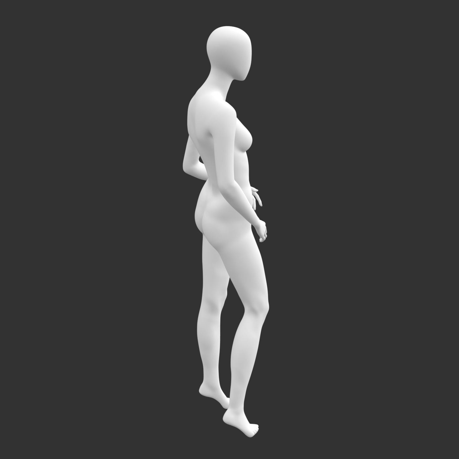 Leisure Female Mannequin 3d printing model of no face and muscle - 4