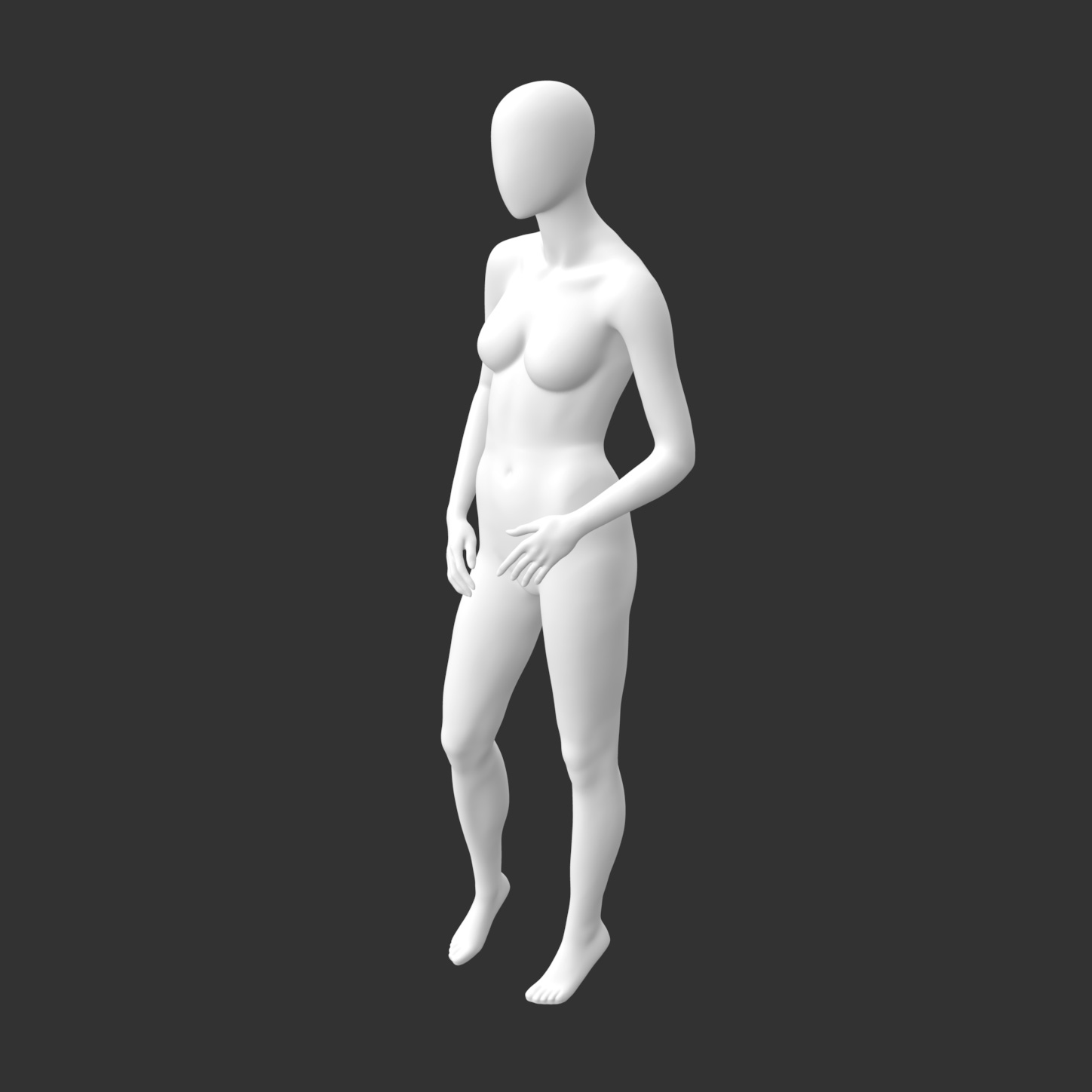 Leisure Female Mannequin 3d printing model of no face and muscle - 1