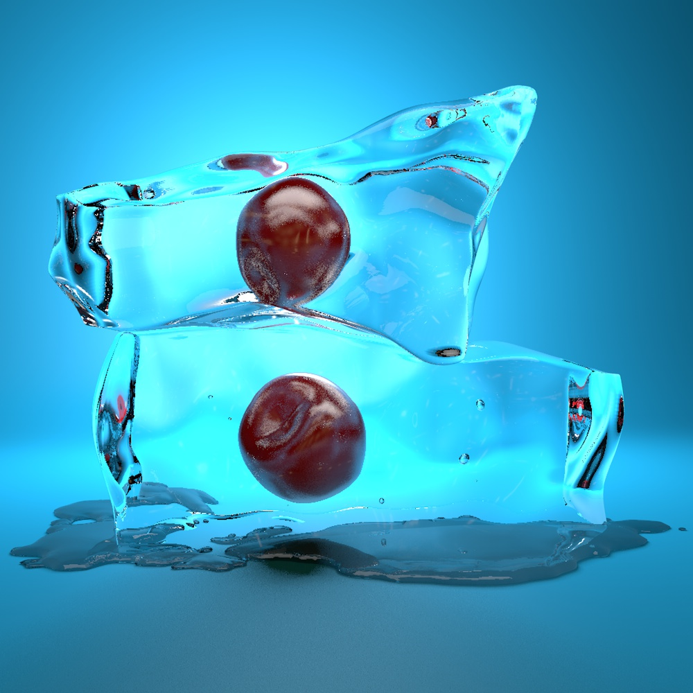 Ice Cube  Cherry 3d model Material