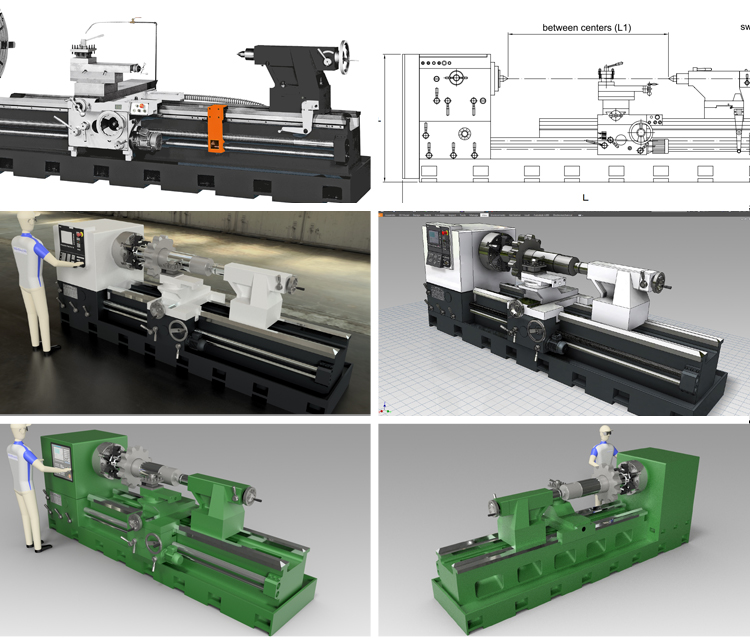 Mechanical lathe 3D model industrial design