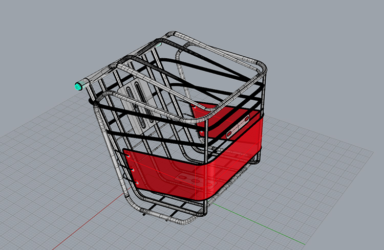 Sports bicycle basket industrial design 3D model