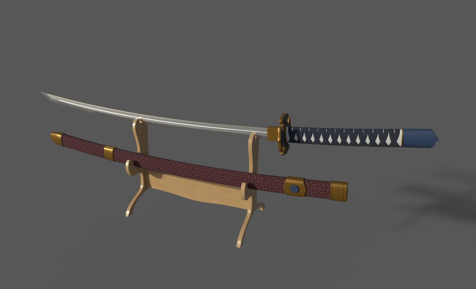 Japanese katana samurai sword 3d model