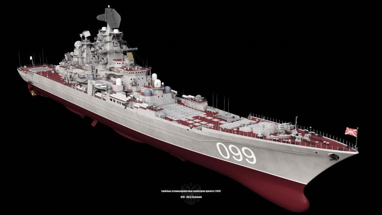 Ruský model třídy Kirov Peter The Great heavy cruiser 3d