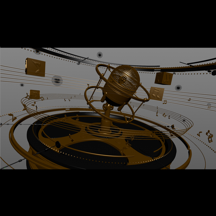 Gold Microphone of Prelude 3d model animation