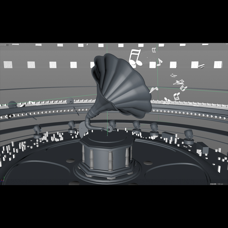 Vintage Gold Music Phonograph 3d model animation