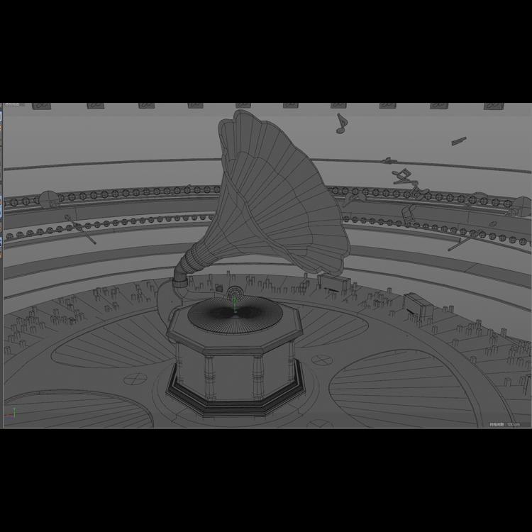 Vintage Gold Music Phonograph 3d model animation