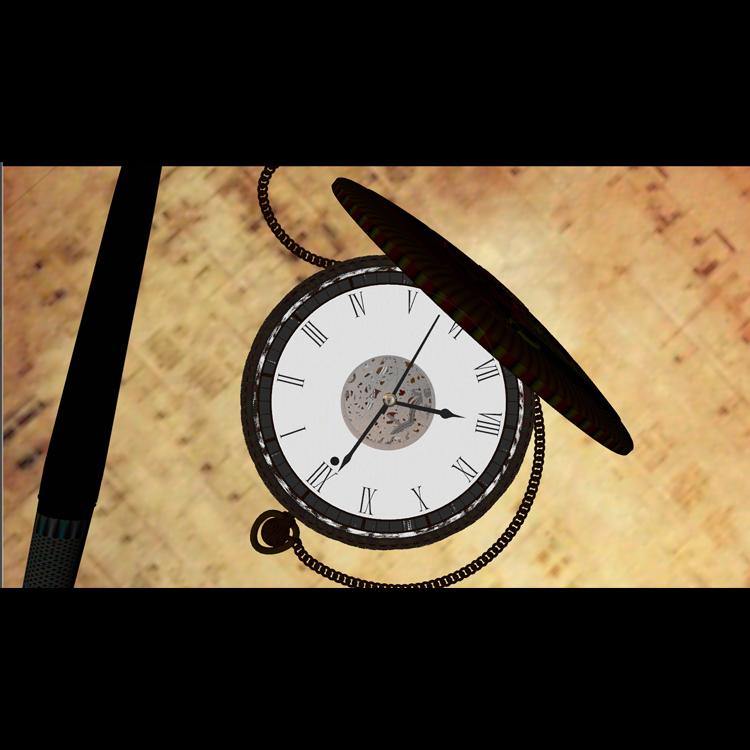 Vintage Gold Pocket Watch 3d model animation