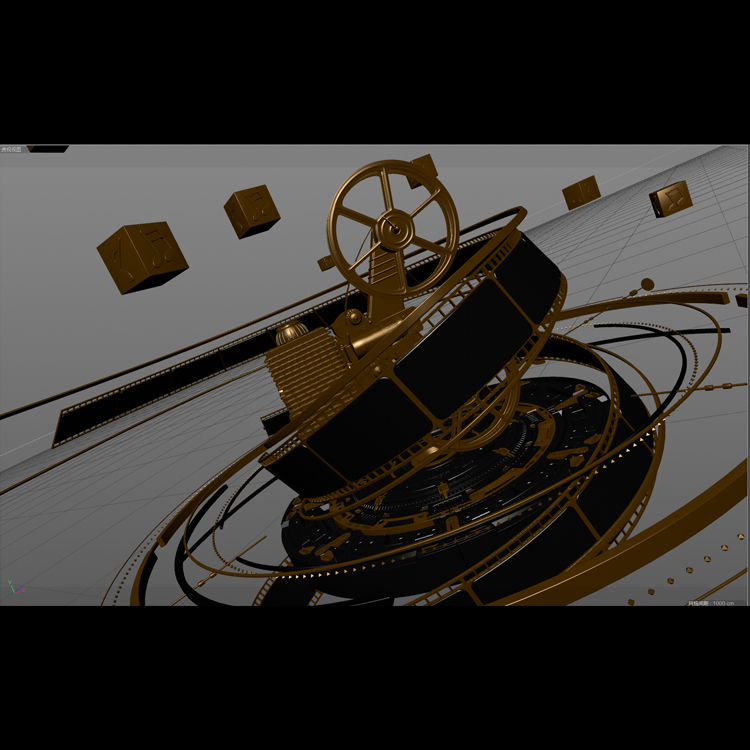 Projector and Film Reel 3d model animation