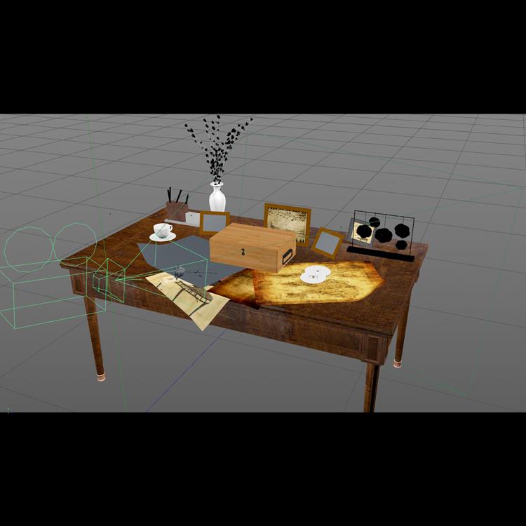 Rose Growing Scene on the desk 3d model animation