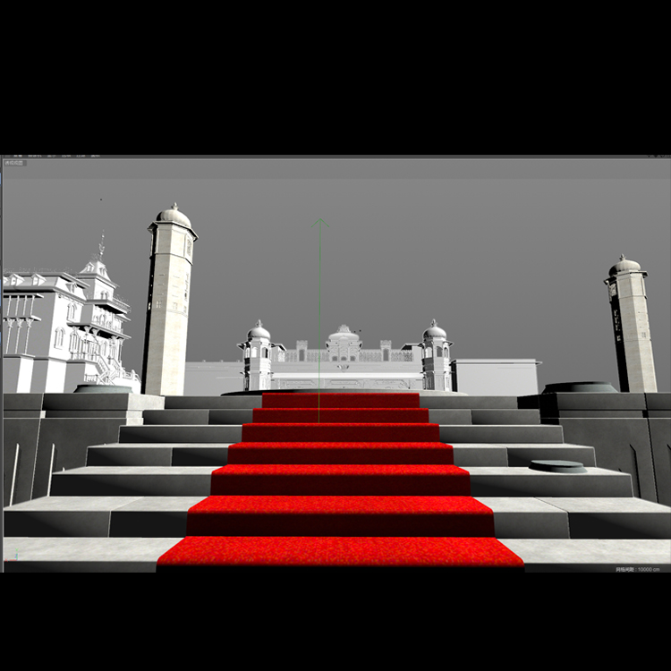 Cartoon Wide Angle Palace in the game scene 3d model animation