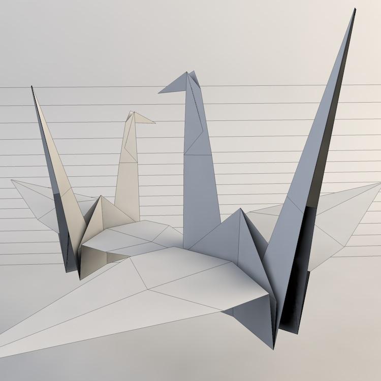 Origami Paper Crane 3D model