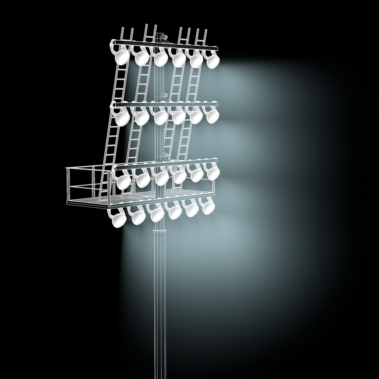 Stadium Lights 3d model field illumination high-mast-lighting