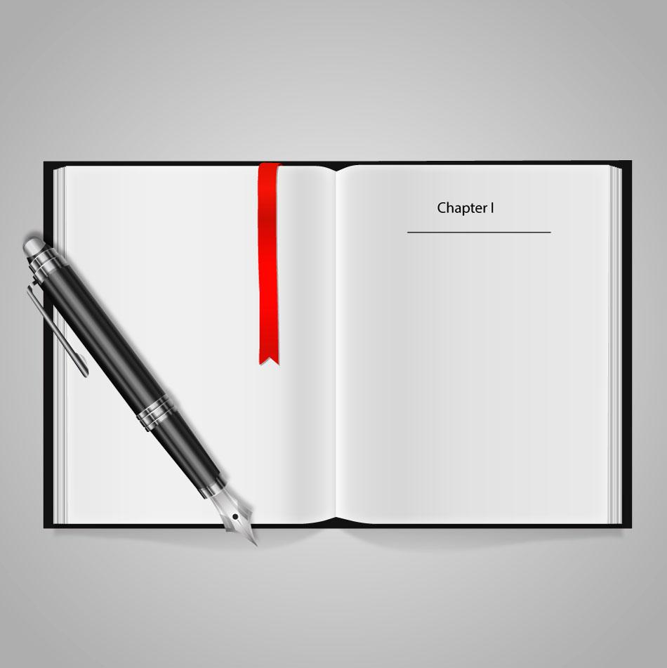 Libro y pluma gráfico AI Vector