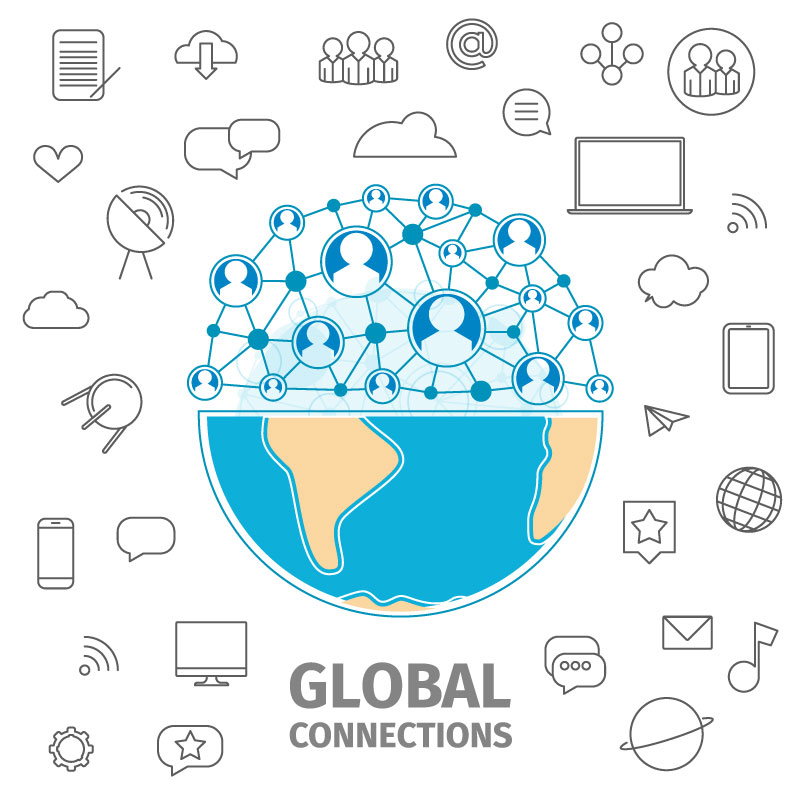 Business Global Connection Icons AI Vector