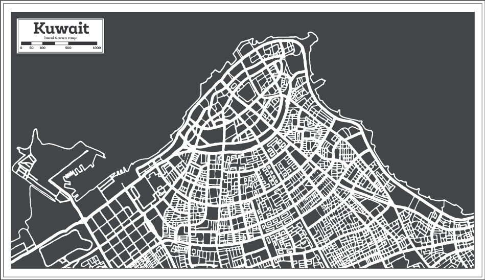 City Hand Drawing Kuwait Map AI Vector